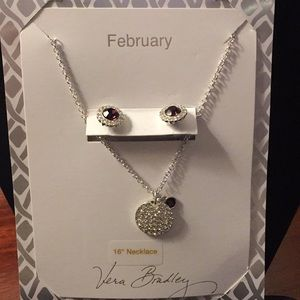 NWT Vera Bradley February Necklace & Earrings